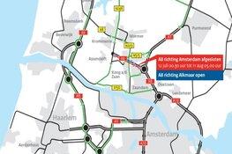 A8 gaat vier weken dicht voor verkeer richting Amsterdam