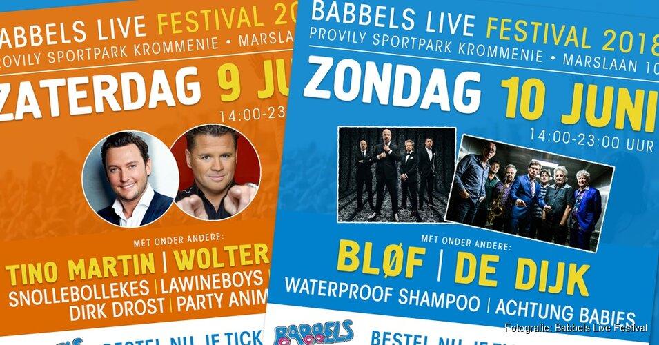 Tino Martin, Wolter Kroes, Bløf en De Dijk komend weekend op Babbels Live Festival