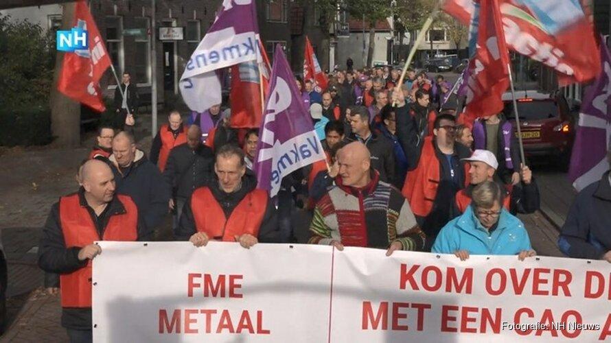 Stakingsmars van metaalarbeiders naar Zaanse Schans